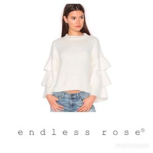 Endless Rose White Tiered Sleeve Sweater Size L